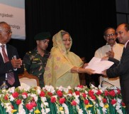 Prof TI awarded with Gold Medal by PM of BD (1)